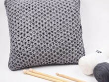 Knitted Smock Stitch Cushion