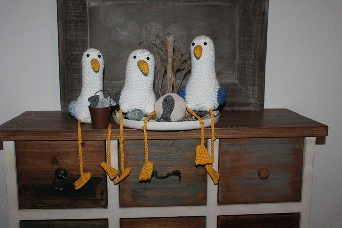 Seagull Marvin and friends, crochet pattern