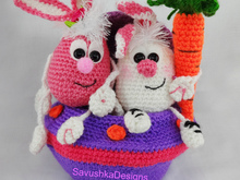 Crochet Pattern Amigurumi Little Easter bunnies in a UFO SHIP