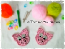 crochet pattern appliqué of pig PDF ternura amigurumi english- deutsch-dutch