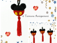 Mickey Anhänger Häkelanleitung pdf ternura amigurumi english- deutsch- dutch