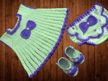 Crochet Pattern Baby Dress, Pantie, Baby Shoes, 0-3 Month