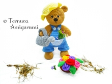 Crochet pattern, LEO, the gardener bear 34cm! PDF ternura amigurumi english- deutsch- dutch
