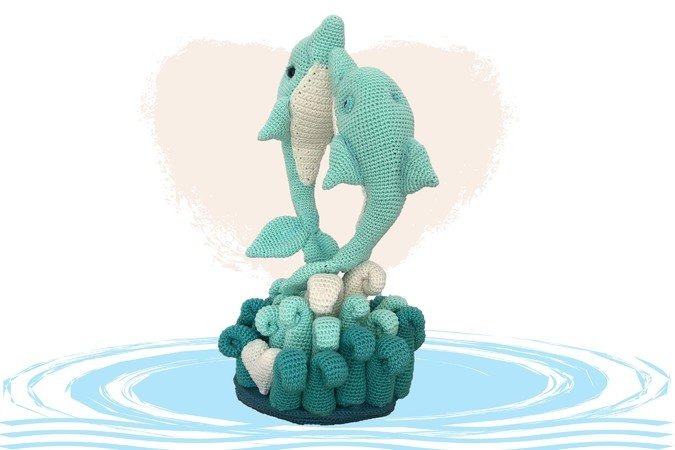 Delfin Liebe  Häkelanleitung Amigurumi PDF Deutsch - English - Dutch