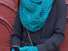 Knitting Scarf And Mitten