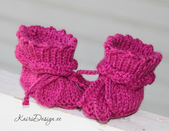 Doll booties knitting pattern