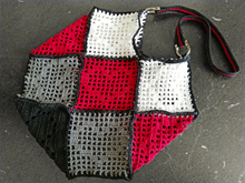 Crochet pattern: Shopping bag with hearts