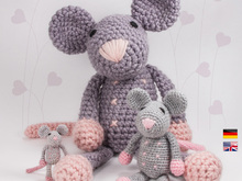 Rat 'Rosalie' • LuckyTwins • Amigurumi crochet pattern (3 sizes)