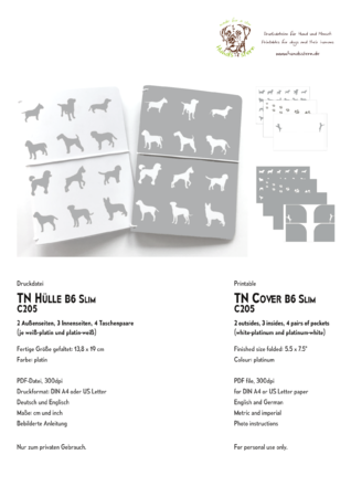 Cover for Planner TN B6 Slim, Dogs C204 platinum