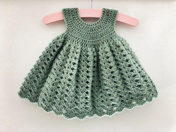 Crochet pattern baby dress Madeline