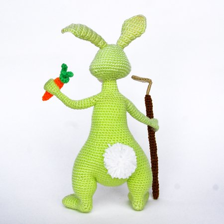 Amigurumi pattern for crochet Rabbit gardener. Easter bunny toy