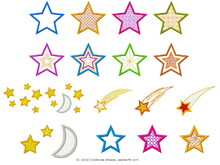 Big star set 16 motifs stars shooting star starry sky with moon embroidery files 4x4