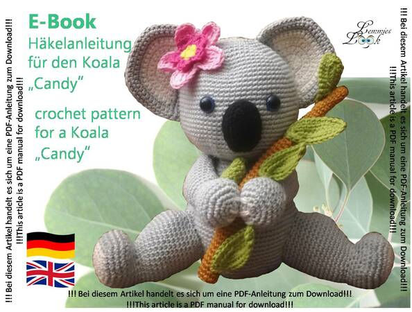koala girl Candy - crochet pattern PDF