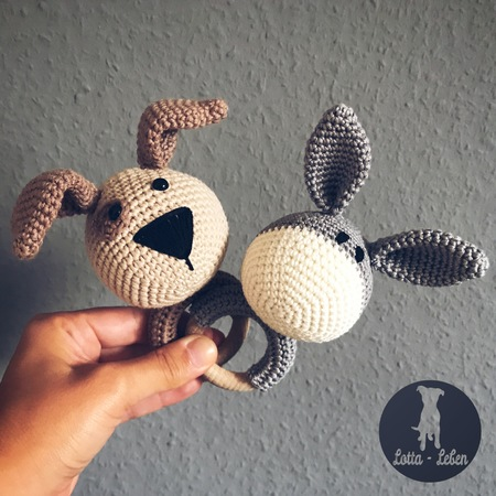 English Pattern for the Wooden Teething Ring Dog & Donkey
