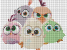 Hatchling angry birds cross stitch pattern