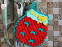 """A jar of strawberry jam "" potholder"