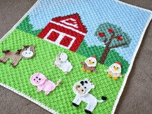 Farm animal frieds applique blaket- horse, sheep, cow, chicken, pig, crochet baby blanket pattern