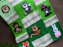Forest friends applique blanket,bear,bunny,racoon,fox,squirrel,wolf,hedgehog,owl
