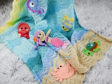 Undersea sweetness baby blanket PDF pattern,8 appliques, whale,seahorse,mermaid,crab,jellyfish,turtoise