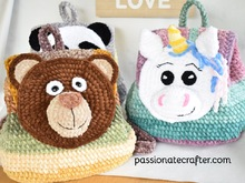 Crochet velvet backpack pattern. Panda, Bear, Unicorn