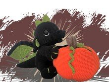 Halloween Dragon with Pumpkin Pattern Amigurumi PDF Deutsch - English