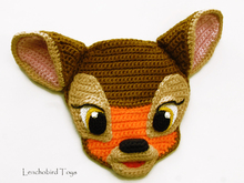 Crochet applique pattern for Bambi Fawn face. Kids clothes decor.