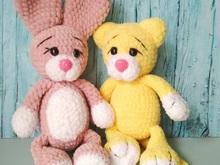Bunny and cat crochet toy pattern, Amigurumi
