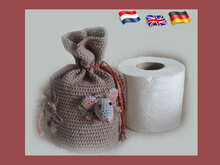 "Toilet paper roll cover ""Bag with Mice """