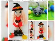 Halloween!! Crochet pattern of Annie, the little witch + crochet pattern Kally, the sweet kitty 2PDF ternura amigurumi. english- deutsch- dutch