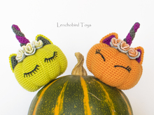 Amigurumi pattern for Halloween pumpkin unicorn