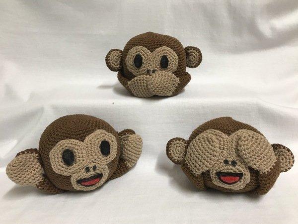 Häkelanleitung Drei Affen Nichts Sehen Nichts Hören Nichts Sagen
