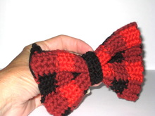 Plaid crochet bow tie