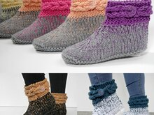 Knitting Pattern – Slippers *VRONI* Cable Knit Border – No.217E