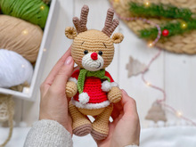 Crochet pattern amigurumi Christmas reindeer boy and girl