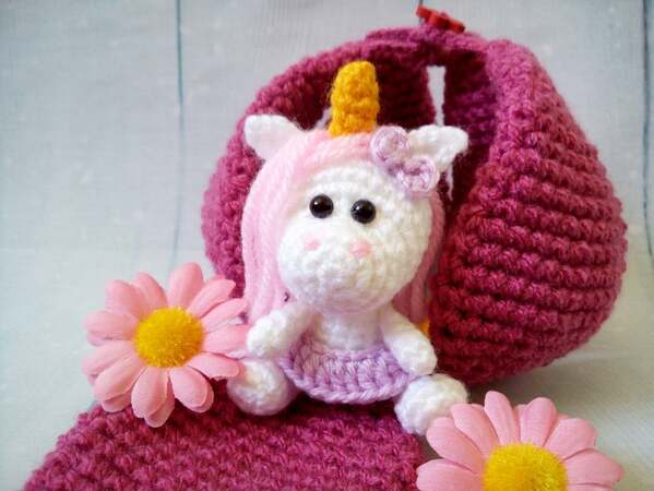 227 Crochet Pattern - Little Unicorn with a Flower House - Amigurumi PDF file by Knittoy CP
