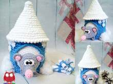 234 Crochet Pattern - Rat or Mouse in a winter house - Amigurumi PDF file by Knittoy CP