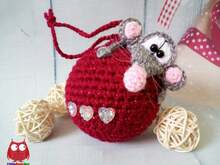 238 Crochet Pattern - Rat or Mouse on a bauble - Amigurumi PDF file by Knittoy CP