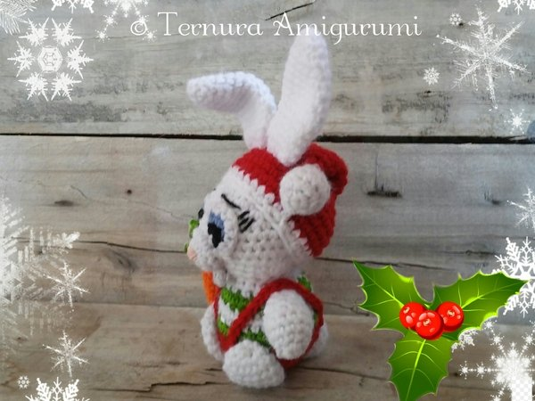 Crochet pattern Alex, the christmas rabbit PDF ternura amigurumi, english- deutsch- dutch