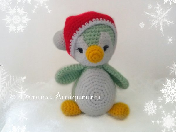 Häkelanleitung Weihnachten Pinguin 18cm PDF ternura amigurumi english- deutsch- dutch