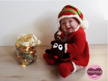 "Dress ""Jule"" for dolls from 12 to 18 inch, reindeer for cuddling, Christmas outfit, crochet Santa, crochet dress, doll dress"