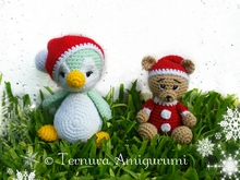 Haakpatroon Nick, de kerstbeer + Kerst pinguïn PDF ternura amigurumi english- deutsch- dutch
