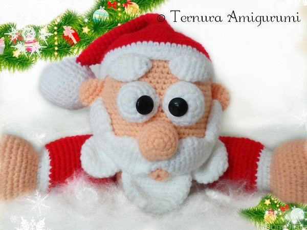 Crochet Pattern Santa Claus, Christmas PDF ternura amigurumi English- deutsch- dutch