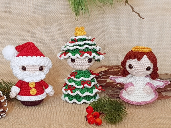 Christmas-Trio: Santa, Christmas Tree & Angel – Crochet Pattern