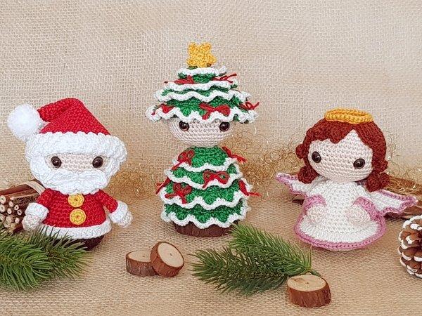 Festive Christmas-Trio: Santa, Christmas Tree & Angel