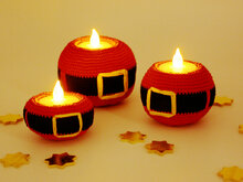 Tealight Holders - Santa - Crochet Pattern