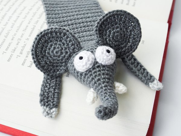 Amigurumi Crochet Elephant Bookmark
