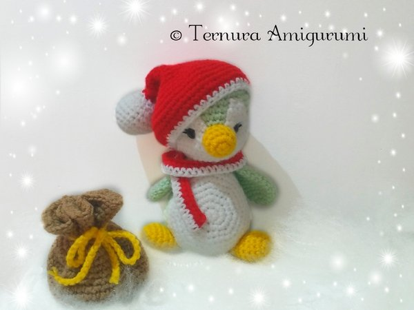 crochet pattern Christmas penguin + accessories PDF ternura amigurumi english- deutsch- ducth