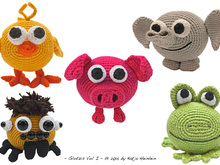 amigurumi animal glotzis PDF crochet pattern tutorial for a chick elephant spider frog pig chicken bird tarantula stuff toy kid