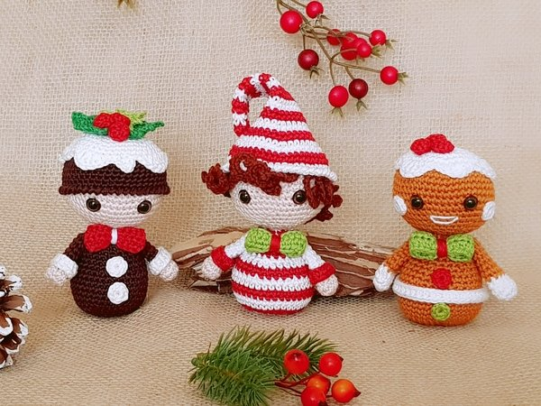 Christmas Treats: Ginger Bread, Candy Cane &   Christmas Pudding – Crochet Pattern