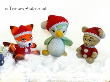 3 CHRISTMAS CROCHET PATTERNS !!! Nick, the bear + Penguin + Rocco, the fox PDF ternura amigurumi english- deutsch- dutch